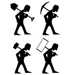 Laborer types silhouette stencil vector