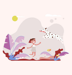 little girl pet owner plays with her small dog vector image