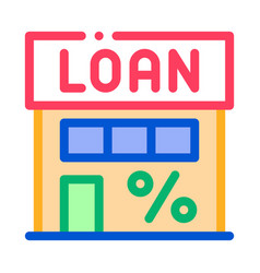 loan percent building icon outline vector image