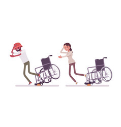 Male female wheelchair user tripping over on vector