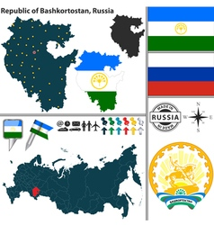 Map of Republic of Bashkortostan vector image