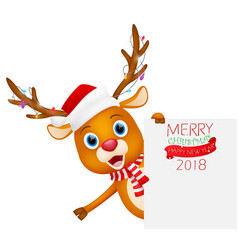 merry christmas background with cute reindeer vector image