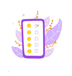 Mobile review with emoticons flat vector
