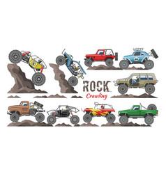 Monster truck cartoon rock vehicle crawling vector