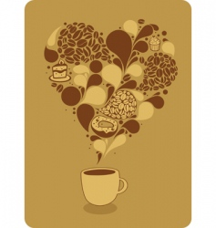 mug of coffee and sweets vector image