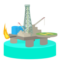 oil platform icon cartoon style vector image