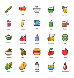 Organic food and drinks flat icons pack vector