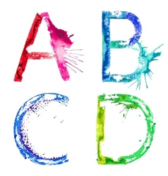 Paint splash font ABCD vector