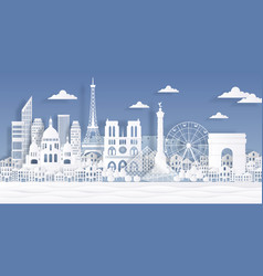 paris paper landmark eiffel tower french monument vector image
