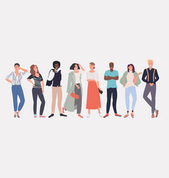 People fashion bloggers standing together smiling vector