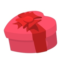Pink heart shaped gift box with a ribbon icon vector image