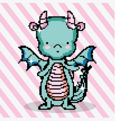 Pixel art cute dragon vector
