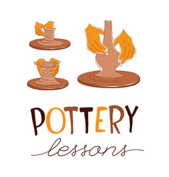 Pottery lessons traditional pottery making hands vector