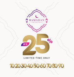 Ramadan kareem discount up to 25 off limited time vector