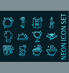 Restaurant set icons blue glowing neon style vector