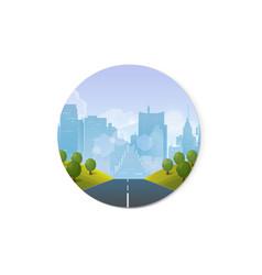 road through countryside into city vector image