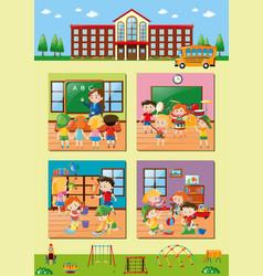 school scenes with teacher and students vector image