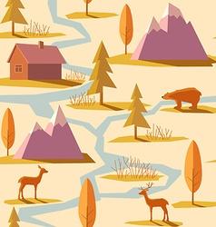 Seamless Winter Mountain Pattern vector