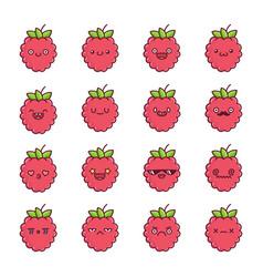 Set fun kawaii raspberry fruit icon cartoons vector
