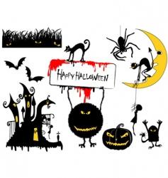 Set halloween objects vector