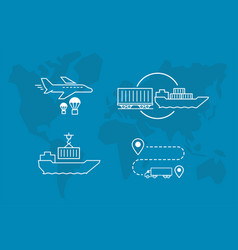 Set icons air railway and water freight vector