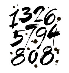 Set of calligraphic ink numbers for your vector