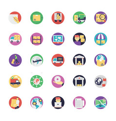 Set of logistics flat icons vector