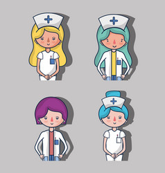 Set professional doctor and nurse vector