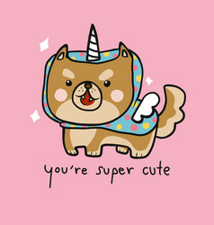 shiba inu dog wear super cute colorful unicorn vector image