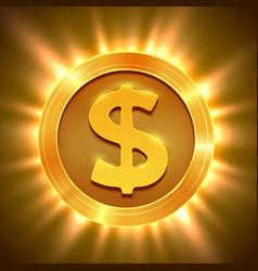 Shiny golden dollar coin concept of wealth vector