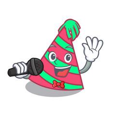 Singing party hat mascot cartoon vector