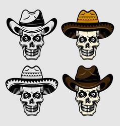 skull in sombrero and cowboy hat set vector image