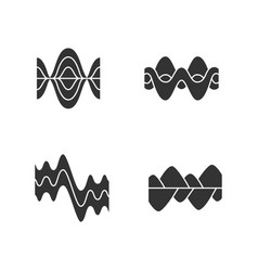 Sound waves glyph icons set silhouette symbols vector