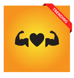 Strong heart sign heart with muscle icon vector