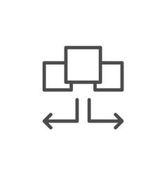 Task distribution line outline icon vector