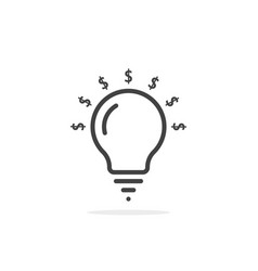 thin line bulb with dollar sign vector image
