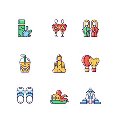 Traditional taiwanese rgb color icons set vector