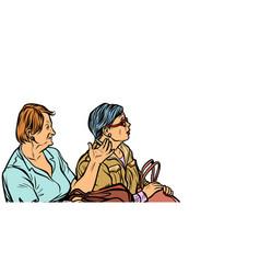 two elderly women discuss vector image