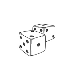 Two white cartoon-style dice cubes vector image