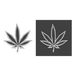 vintage monochrome cannabis leaf vector image