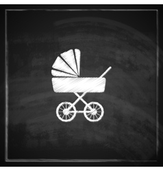 vintage with a pram on blackboard background vector image