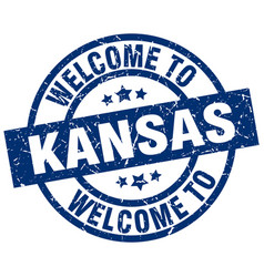 Welcome to kansas blue stamp vector