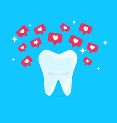 white healthy beautiful tooth with hearts social vector image