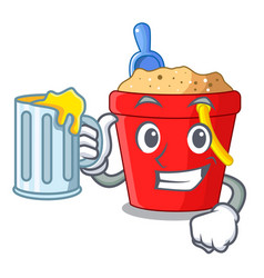 With juice picture beach bucket on shovel cartoon vector