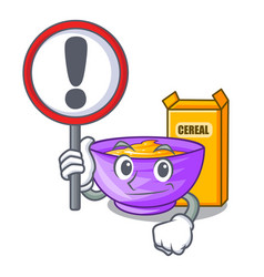 With sign cereal box in a cartoon bowl vector