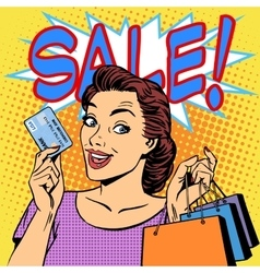 woman purchases discounts credit card sale vector image