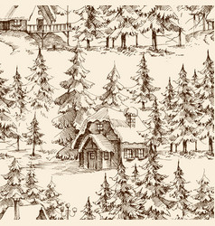 Wooden lodge in pine forest idyllic vector