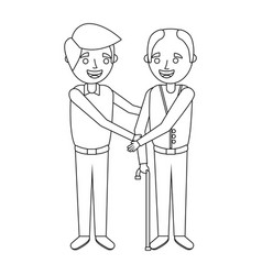 Young man and old man embraced together vector