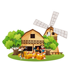 farmers and hens in the farm vector image