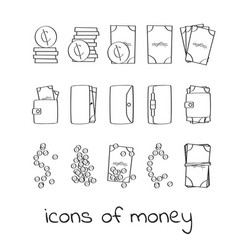hand draw money icons collection of linear signs vector image